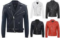 Men's Stylish Brando White, Red, Black, Spiked & Fringe Leather Biker Jacket