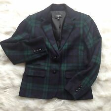 NWT Talbots Jacket Blazer 6P Wool Blend Green Blue Plaid Lined Two Button H26