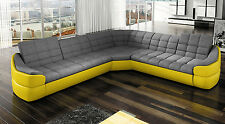 """BMF """"VER 24"""" Corner Sofa YELLOW Faux Leather / GREY Fabric 5 SEATER"""