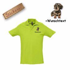 Camiseta Polo Algodón Bordado Perro salchicha 2 + Texto personalizado
