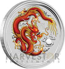 2012 LUNAR YEAR OF THE DRAGON - 5 OZ. SILVER COIN - COLORIZED BULLION COIN