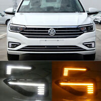 LED DRL Fit For Volkswagen VW Jetta 2019 Fog Lamp Daytime Running Light W/ Turn