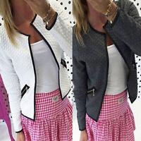 Womens Qulited Bomber Jacket Biker Zip Up Slim Fit Short Coat Cardigan Blazer