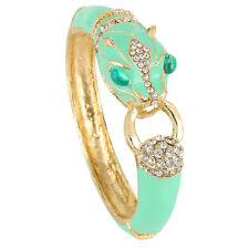 Luxury Leopard Panther Animal Bracelet Bangle Rhinestone Crystal Green Enam