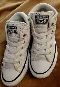 Converse Mid Chuck Taylor All Star Girls White Paint Dots Shoes Youth Size 13
