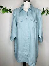 Soft Surroundings 100% Linen Women's Sz Plus 3X Light Blue Tunic 3/4 Sleeves