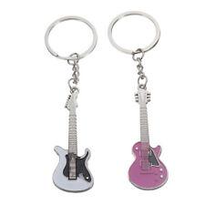 1 Pair Sweet Mini Silver Pink Alloy Guitar Keychain Keyring Keyfob Pendant J5F8
