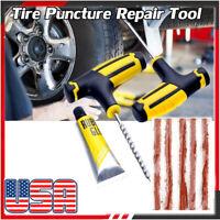Car Tubeless Tire Puncture Repair Plug Repairing Kits Needle Patch Fix Tool U