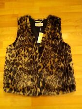 MICHAEL KORS Womens Sleeveless Animal Print Faux Fur JACKET VEST Sz M