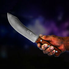 Butcher Knife Kitchen Steel Chop Bone Pork Beef Slaughter Hole Wood Round Curved
