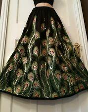 Boho Hippie Long Sequin Rayon Black&Green Peacock design festival Party skirt