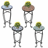 Side Table Mosaic Ceramic Garden Plant Stand Holder Coffee End 4 Colors