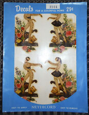 Vintage Meyercord Decals X544 Strange Lady Mask Dancing Flowers - 4 Decals