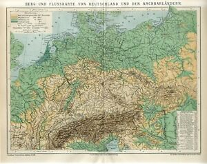 1882 GERMANY RIVERS and MOUNTAINS Antique Map