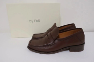 BY FAR Britney Penny Loafers Brown Leather Size 38