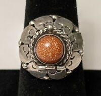 Vintage Taxco Sterling Silver Poison Ring Goldstone 5.7g Size 9 Adjustable