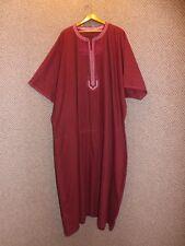 Vtg Maroon Felt Embroidered Short Sleeve Ethnic Caftan Kaftan Mens Womens 6X