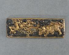 """Mae-kanagu """"Dragon & Tiger"""" Antique Japanese metal fittings for samurai sagemono"""