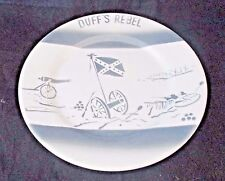 "Vintage Duff's Rebel Airbrushed Plate 9"" Restaurant Ware HTF Cannons Flag"