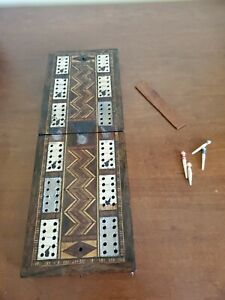 Antique Vintage Inlaid CRIBBAGE BOARD Foldable Needs TLC