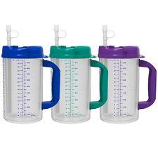 32 oz Double Wall Insulated Hospital Mugs - Cold Drink Mug with Straw - BPA Free