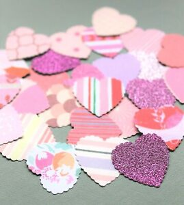 50 x PINK PAPER CARD LOVE HEARTS CARD MAKING CRAFT EMBELLISHMENTS SCRAPBOOK