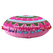 Ethnic Floral Round Embroidered Suzani Floor Pillow Cover Pom Pom Cotton 18""