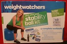 Weight Watchers Pick Your Spot Stability Ball Kit 4 Workouts DVD + Hand Pump new