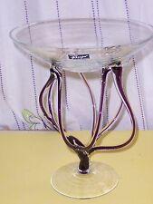 ALICJA PURPLE/CLEAR GLASS PEDESTAL BOWL, MADE IN POLAND