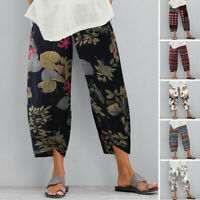 AU STOCK Women Wide Leg Chino Pants Plus Size Capri Cotton Linen Floral Trousers