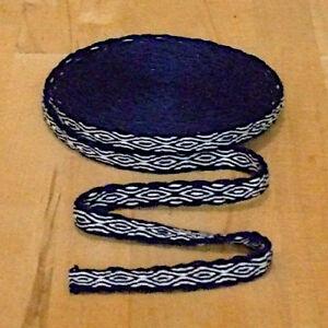 Mittelalter LARP Reenactment Handgewebte Brettchenborte Wolle blau-natur