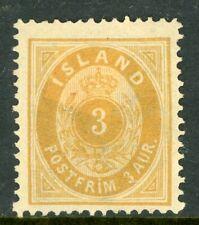 Iceland 1882 Numeral 3a Orange Perf 14x13½ Scott # 15 Mint C528
