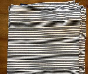 Ralph Lauren Queen Striped Flat Sheet 100% Cotton Black Dark Gray & White Cream