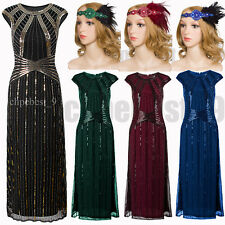 Vintage Style 1920s Flapper Dress Evening Gown Long Prom Dresses Plus Size S-XXL