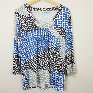 [ BLUE ILLUSION ] Womens Spotted Print Long Sleeve Top  | Size 3L or AU 20