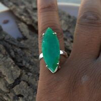 Large Marquise Emerald Gemstone 925 Sterling Silver Prong Set Gift Ring Size 8