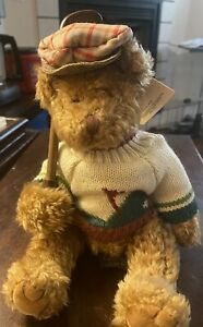 """Russ Berrie Bears From the Past """"Bogey Jr"""" Golfer Teddy Bear 9"""" With Tag"""