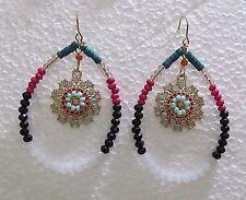 """Beaded Teardrop 2"""" Dangle 5 Color Hypoallergenic Wire Earrings"""