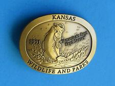 LARGEMOUTH BASS Belt Buckle - NEW RARE 1991 Kansas State Wildlife Parks Brass