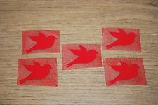 5x Vogel rot Taube Samt Flock Applikation zum aufbügeln Flicken Aufnäher Patch