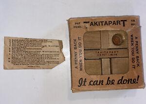 Vtg 1930's TAKITAPART Wooden Brain Teaser Puzzle DOUGLAS THE MAGICIAN Challenge!