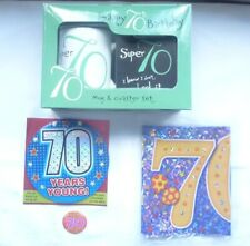 70th Birthday Gift Set: Mug + Coaster pack; 2 badges; 3 holographic banners
