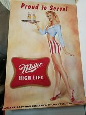 Miller High Life Sexy Girl Beer Poster 18x26 Waitress Proud to Serve Art