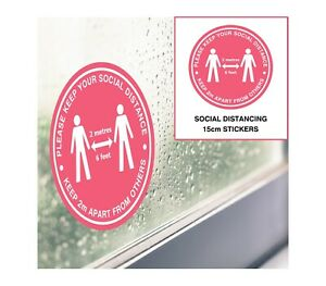 Social Distancing Stickers - Pink 15cm - Window, Door & Wall Decals Shop Office