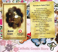 Novena to Saint St. Saint Clare - Relic Paperstock Holy Card