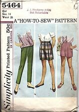 5464 Simplicity Vintage Sewing Pattern 1960's Girls Pants Shorts How to Sew 14