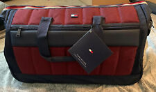 """TOMMY HILFIGER CLASSIC SPORT 22"""" ROLLING CARRY ON DUFFLE BAG RED"""