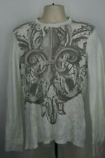 Helix Mens Thermal Shirt Size Medium White Gray Long Sleeve