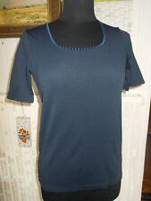 Tee shirt polyamide bleu marine rayé ton sur ton UN JOUR AILLEURS T.2 40/42FR