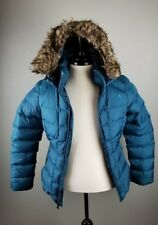 The North Face Womens Small 550 Fill Goose Down Winter Hooded Jacket Teal Green